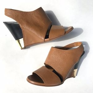 Chloe Brown Gold-Trimmed Leather Wedge Sandals